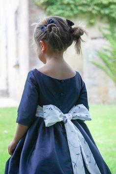Lovely navy blue flowergirl dress for Fall and Winter weddings by littleeglantine.com