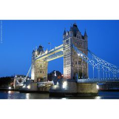 Twilight view of the Tower Bridge ❤ liked on Polyvore