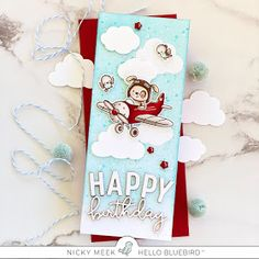 It's been a while since I played with the adorable Maverick stamp set by Hello Bluebird Stamps and the fact that I needed a more masculine. Masculine Birthday Cards, Handmade Birthday Cards, Happy Birthday Words, Studio Cards, Pretty Cards, Cool Cards, Kids Cards, Homemade Cards, Blue Bird