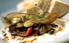 Roasted vegetables with yogurt sauce - iCookGreek Greek Recipes, Veggie Recipes, Vegetarian Recipes, Cooking Recipes, Roasted Vegetables, Veggies, Chili, Sour Foods, Greek Dishes