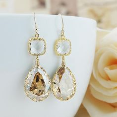 Golden Shadow Swarovski Crystal with clear Glass Dangle Earrings - Earrings Nation