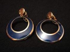 Vintage Gold Tone and Navy Blue Enameled Hoop Dangle by ditbge, $6.75