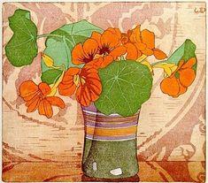 "Walter J. Phillips (Canadian, - ""Nasturtiums"", 1928 - Colour woodcut on paper Art And Illustration, Illustrations, Art Floral, Botanical Art, Oeuvre D'art, Flower Art, Printmaking, Art Prints, Block Prints"