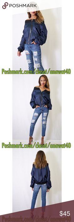 """HP Off Shoulder Bomber Jacket Interstellar Off Shoulder Bomber Jacket  A shiny blue bomber jacket with a front zipper closure, slanted zipper pockets and black ribbed neckline, cuff and hem. Long sleeves.  * Measures approx. 21"""" length, 36"""" chest, 32"""" waist, 23"""" sleeve length * 100% polyester * Model is in size S * Model is 5'10.5"""", 34"""" bust, 24"""" waist, 34""""  * Color : Navy Alpha Omega Jackets & Coats"""