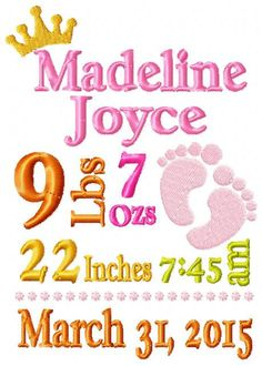 Custom Personalized Baby Girl Birth Announcement Embroidery Design dst, exp, hus, jef, pes, sew, vip, vp3, Formats