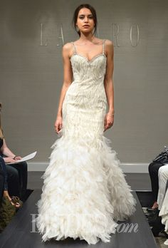 Brides: Lazaro - Fall 2014. Style 3456, sleeveless beaded and embroidered organza trumpet wedding dress with a sweetheart neckline, jeweled spaghetti straps, and a feathered skirt, Lazaro