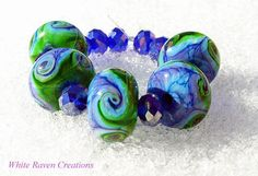 March Winds Lampwork Beads by WhiteRavenCreations on Etsy, $18.00