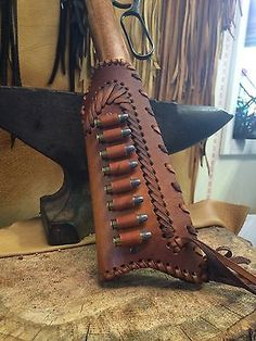 LEATHER GUN STOCK COVER/SHELL HOLDER Winchester Marlin Rossi Henry in Sporting Goods, Hunting, Gun Parts | eBay