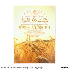 Country Rustic WEDDING Beautiful Wheat Invite announcement Invitations  #wedding