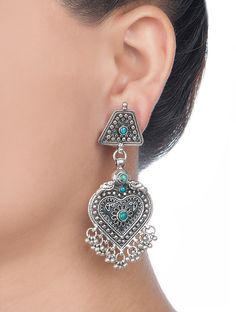 Buy Silver Floral Drop Earrings Jewelry Tribalistic Hand Crafted Etched Tribal from Rajasthan Online at Jaypore.com