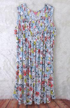Womens Plus WOMAN WITHIN White Black Blue Sleeveless Long Knit Dress SZ 5X 38/40 #WomanWithin #MaxiDress #Casual