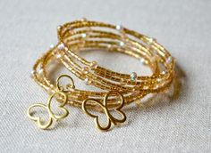 Gold Butterfly Memory Wire Cuff