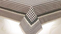 Nappe rectangulaire gris et blanc en 130 x 180 à petits carreaux