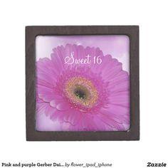 Pink and purple Gerber Daisy Premium Trinket Box