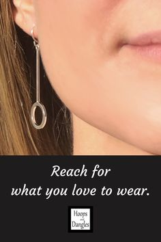"""Handmade candy shaped dangles are for you ear wire dangle wearers. Light and comfortable with a polished finish, these softened geometric shapes are made from sterling silver and good to go anywhere. SIZE: Total length including ear wire is 2"""", Hoop length is 1 1/2"""" and Width is 1/2"""""""