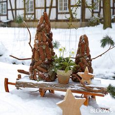Auch im Januar noch schön Christmas Makes, Christmas Signs, Outdoor Christmas, Christmas Diy, Christmas Ornaments, Christmas Wreaths, Pine Cone Crafts, Xmas Crafts, Christmas Candle Decorations