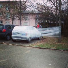 So today some #pranksters decided to welcome the new semester with #plasticwrap.  #amomentofsilence for the poor victim . Let's hope he/she deserved it   #creativityknowsnoborders  #semesterstart #prank #students #collegehumor #studentdormitory #stuttgartuniversity #stuttgart #hdm #vaihingen #thatswhatstudentsdo #whenstudentsforgettobelazy #ghettochristo #christo