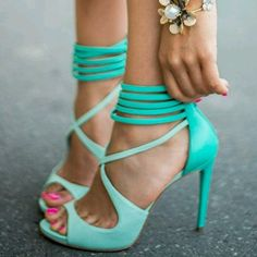 mint heels.  Women's fashion and style. Shoes. Heels.