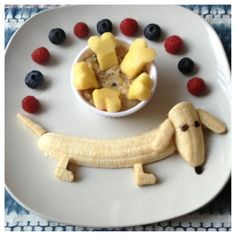 Kids fun foods, fun meals for kids, cute kids snacks, kids meals ideas Baby Food Recipes, Snack Recipes, Yogurt Recipes, Sausage Recipes, Family Recipes, Recipes Dinner, Food Art For Kids, Fruit Art Kids, Cute Food Art