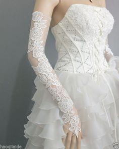 White Lace Bow Long Wedding Glove Fingerless Opera Bridal Glove Evening Gloves