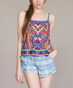 Look at this Blue & Coral Geometric Tank on #zulily today!