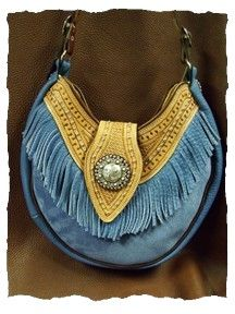 Blue fringe bag! - Made by Shasta Leatherworks and A'Dressing the Past.