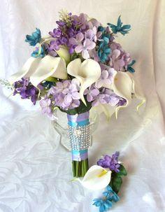 Calla lily wedding bouquet calla liliy tiffany blue and lilac bridal bouquet calla lily bridal bouquet. $85.00, via Etsy.