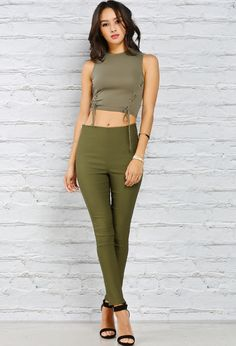high waist color jeggings