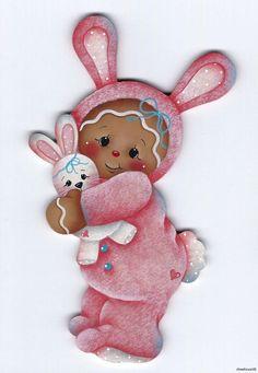 pamela house gingerbread   HP GINGERBREAD Pink Bunny FRIDGE MAGNET