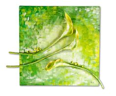 Calla Flowers Collage Painting by Natalia Madunicka on Etsy  #art #mixed #collage #painting #present #flower #calla #colourful #gift #decoration #original
