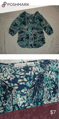 Liz Claiborne Peasant Blouse 3/4 Sleeves / 100% Polyester / Sheer / Blue Tassels Liz Claiborne Tops Blouses
