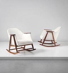 Gianfranco Frattini; Walnut Rocking Chairs for Bernini, c1958.