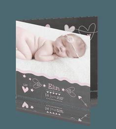 Lief geboortekaartje met eigen foto voor meisje met lieve elementen