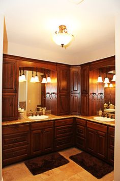 I love this master bath! Beautiful custom cabinets and no clutter.