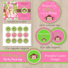 Mod Monkey Girl Birthday Party Pack  DIY by printablecandee, $30.00