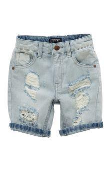 Distressed Denim Five Pocket Shorts (3-16yrs)
