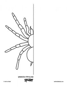 coloring page spider symmetry--could also use to demonstrate transfer method by tracing spider with a pencil, folding, then rubbing on back with a popsicle stick.