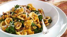 Spicy Orecchiette with Fennel Sausage, Roasted Walnuts, Garlic and Broccolini