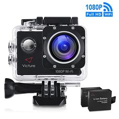 From 45.99:Victure WIFI Sports Action Camera 14MP Full HD 1080P Waterproof Motorcycle Helmet Cams 30M Underwater Diving Camcorder with 2 Inch LCD Screen 170 Wide Angle Lens and 2 Pcs Rechargeable Batteries