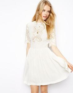 Buy ASOS Pretty Skater Dress With Lace Panels at ASOS. Get the latest trends with ASOS now. Skater Dress, I Dress, Party Dress, Funky Dresses, Summer Dresses, Asos White Dress, Asos Dress, Pretty Outfits, Cute Outfits