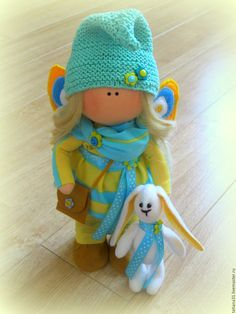 Купить Кукла Алиса с кроликом - кукла ручной работы, интерьерная кукла, текстильная кукла, большеножка