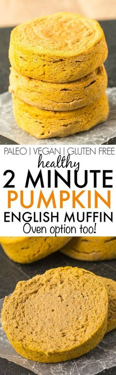 Healthy TWO minute Pumpkin English Muffin- Filling, dense and LOADED with pumpkin flavor, never go store bought again and using just 5 ingredients- Oven option too! {vegan, gluten free, paleo recipe}- thebigmansworld.com