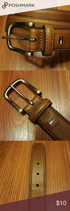 """Men's Tommy Hilfiger Belt Tommy Hilfiger belt. Cognac color. Worn several times but still in decent condition. Very light scratches in places and creasing around center hole. Buckle still in great condition. Size 34""""/85cm. Tommy Hilfiger Accessories Belts"""