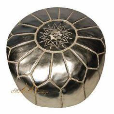 Moroccan Leather Pouf Silver Moroccan Poufs Ottoman #pouf #homeandgarden #home         Diameter : 20 to 21 inches      Height : 12 to 13 inches      Sold unstuffed to save for shipping cost. To achieve desired firmness, we recommend: cotton batting, old clothes, towels, blankets, shredded foam. Moroccan Leather Pouf, Silver color unstuffed with stitching. Handmade by Moroccan Artisans with natural leather, not stuffed to save for shipping cost and time. dimension: 14 inches x 20 inches.