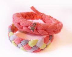Armband Jersey Neonorange, Neongelb, Grau + Weiß und neonorange mit Stern //  bracelet in neon colors