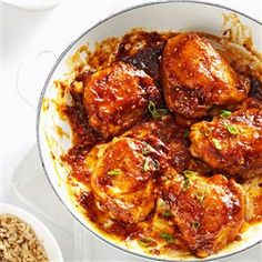 Asian Chicken Thighs Recipe -A thick, tangy sauce coats golden brown chicken pieces. Serve them over long grain rice or with ramen noodle slaw. —Dave Farrington, Midwest City, Oklahoma