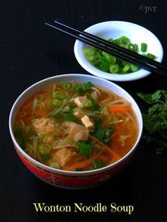 Priya's Versatile Recipes: Vegetarian Wonton Noodle Soup & Chinese Scallion Pancakes