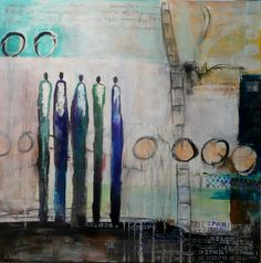 Jeanne Bessette at Mirada Fine Art, Sisters, Acrylic/Mixed Media on Canvas