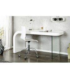 OPTIC - design desk white high gloss glass home office table
