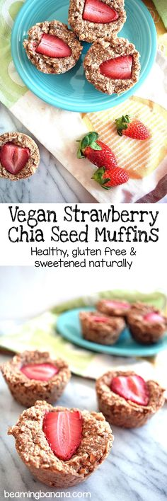 Soft oat muffins filled with sweet strawberry flavor. These vegan strawberry chia seed muffins are gluten free and sweetened only with fruit!
